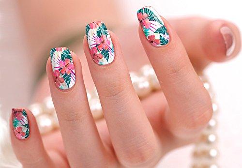 Nail Polish Art Strips 18 Wraps Decal DIY Manicure Pedicure Flower Design Pattern Wedding Bachelorette Prom ()