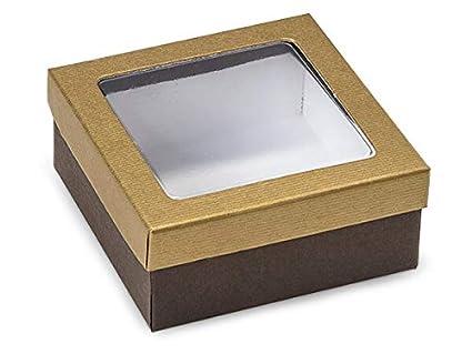 Rígida transparente ventana Candy cajas – dorado y marrón en relieve Boxe ventana transparente 3 –