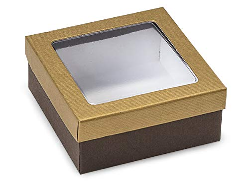 Rigid Clear Window Candy Boxes - Gold & Chocolate Embossed Boxe Clear Window 3-1/2x3-1/2x1-1/2 - (2 Packs; 24 Per Pack) - WRAPS-CW1GCE