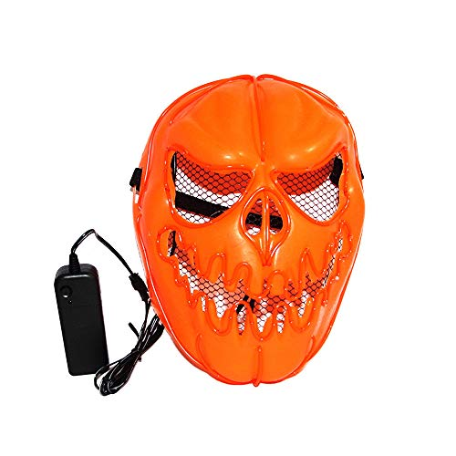 WOCACHI Clearacne Sale! Promotion! Halloween Masks LED Pumpkin Skull Face Cold Light Sound Control Mask for $<!--$5.99-->