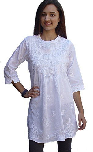 White Kameez Salwar - Ayurvastram Bibab Pure Cottn Hand Embroidered Front Pleated Tunic Top Kurti:White, 30W