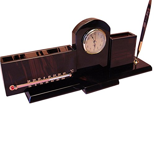 Obsidian office desk organizer with thermometer, clock, paper tray, pen and pencil box, handmade office desk accessory and nice decor