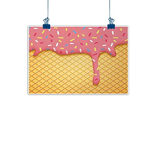 Bar Cherry Wine Hill (Mangooly Canvas Wall Art Ice Cream,Waffle Pattern with Cherry Flavor on Yummy Summer Dessert Cute Image Print,Mustard Coral 36