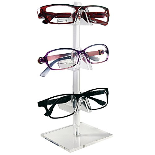 Mooca 2 Piece Acrylic Eyeglasses Frame Riser, 3 Frames for Each Holder