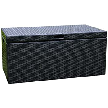 This Item Jeco Wicker Patio Storage Deck Box In Black
