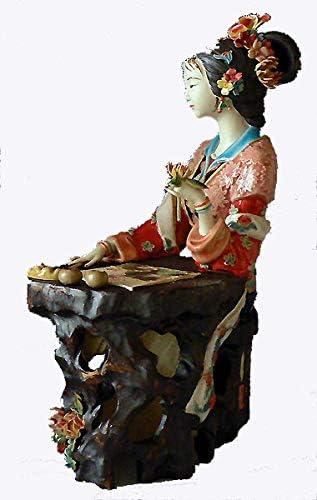 Oriental Lady Concubine Bird Handmade Chinese Porcelain Ceramic Figurine