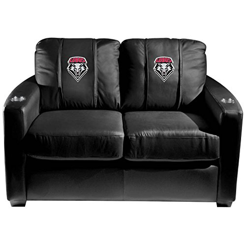 XZipit College Silver Loveseat with New Mexico Lobos Logo Panel, Black