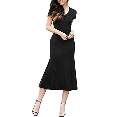JET-BOND FS24 Midi Flare Dress Short Sleeves in Solid Color with Belt (XXL, Black) (Jet Midi)