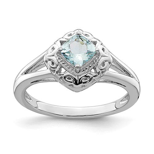 925 Sterling Silver Blue Aquamarine Square Band Ring Size 7.00 Gemstone Fine Jewelry Gifts For Women For Her