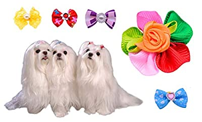 50pcs/pack Cute New Dog Hair Bows Pairs Rhinestone Pearls Flowers Topknot Mix Styles Dog Bows Pet Grooming Products Mix Colors Pet Hair Bows Topknot Rubber Bands from yago pet
