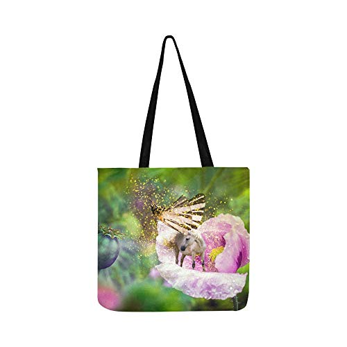 - White Fairy Unicorn With Butterfly Wings On Bloomi Canvas Tote Handbag Shoulder Bag Crossbody Bags Purses For Men And Women Shopping Tote