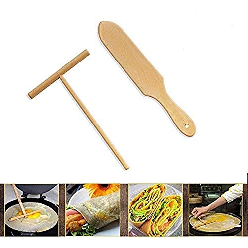 Wooden Crepe Spatula and spreaders | Wooden Spatula Set | Perfect Size to Fit Medium Crepe Pan | 100% Natural Beechwood Crepe Spreader and Spatula for Cooking (M)