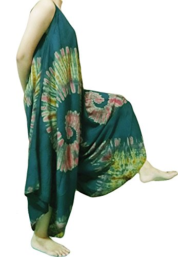 Loongcha's Women Jumpsuit Spaghetti Strap Harem Pants Colorful (sleeveless Green (Indian Pattern Hemp)