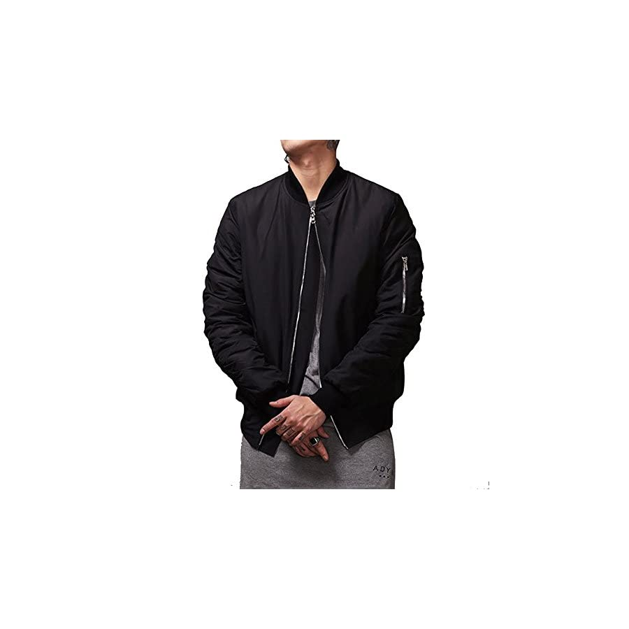 MCCKLE Men`s Zip Hip Hop Varsity Baseball Bomber jacket Black