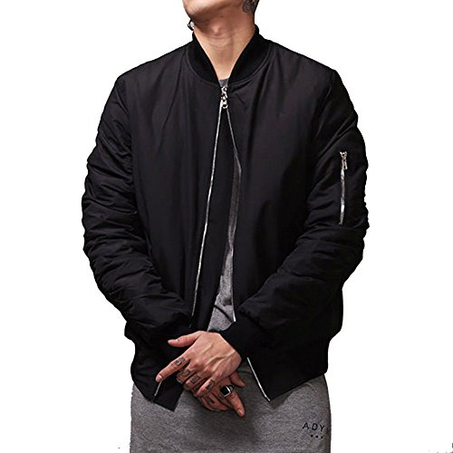 MCCKLE Men`s Zip Hip Hop Varsity Baseball Bomber jacket (Varsity Bomber)
