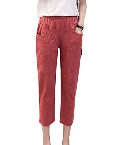 Cintura Bolsillos Con Mujer Guiran Suaves Pantalones Pantalones Casuales Elástica Pantalones Cómodos Lino Rose 5AY6fWnXf