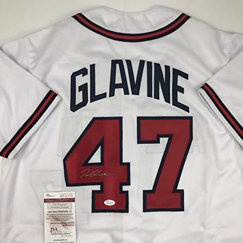 (Autographed/Signed Tom Glavine Atlanta White Baseball Jersey JSA COA)