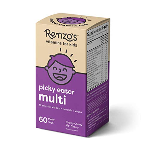 Cherry Zinc Vitamins - Renzo's Picky Eater Multi, Dissolvable Vegan Vitamins for Kids, Zero Sugar, Cherry Cherry Mo' Cherry Flavor, 60 Melty Tabs