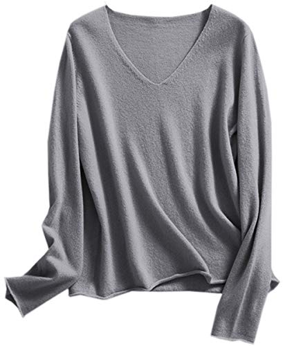 Women's Cashmere Blend V-Neck Knit Pullover Sweater Tops, Solid Long Sleeve Knitted Sweaters for Women, Gray, US Medium = Tag 6XL