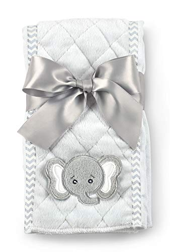 Bearington Baby Lil Spout Gray Elephant Burp Cloth, 14 x 18.5