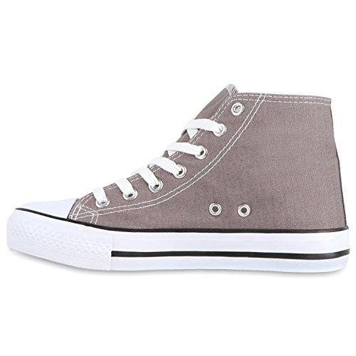 Damen Sneakers Muster Camouflage Damenschuhe Glitzer Turnschuhe Sneaker High Schuhe Flandell Grau Weiss