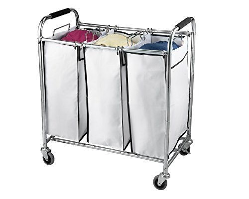 (Sagler Saganizer Hamper with Wheels Rolling Cart Heavy Duty Triple Laundry Organizer/Sorter, Chrome/White, Ivory)