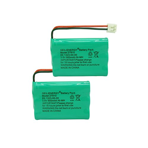 Geilienergy Rechargeable Cordless Phone Battery for V-Tech 89-1323-00-00 Model 27910 Cordless Telephone Battery Replacement (Pack of 2)