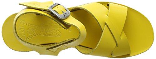 Fly London P143909002, Sandalias de Cuñas Mujer Amarillo (Lemon 005)