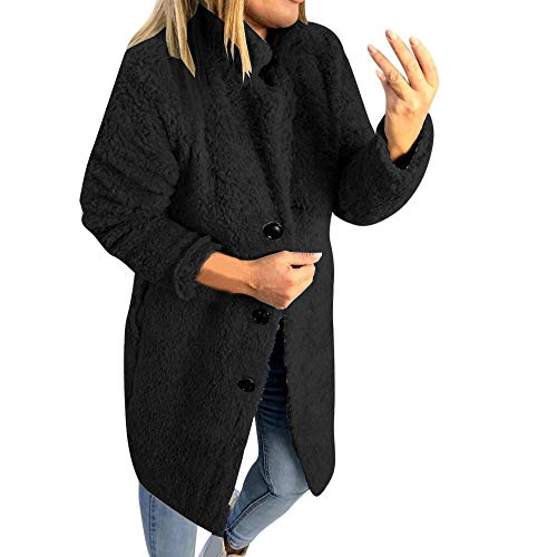 XOWRTE Women's Coat Winter Solid Stand Collar Fluffy Jacket Button Oversized Overcoat Outwear