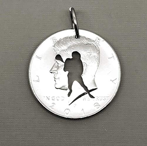 Lacrosse Pendant Necklace or Key Ring Key Chain Cut in a Half Dollar