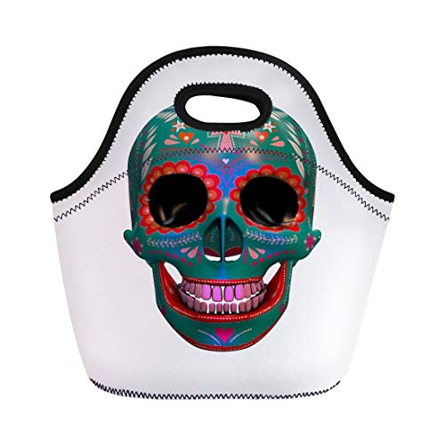 (Semtomn Lunch Tote Bag Calavera 3D Rendering of Sugar Skull Halloween Bizarre Candy Reusable Neoprene Insulated Thermal Outdoor Picnic Lunchbox for Men)