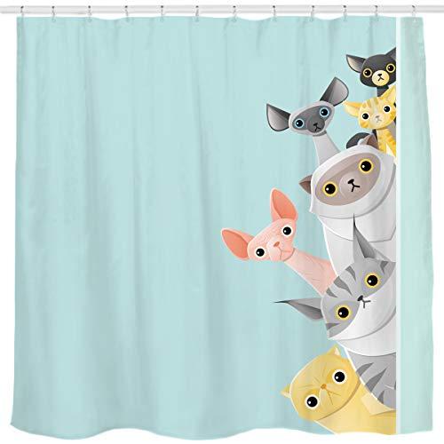 Sunlit Cute Striped Shorthair Peekaboo Cats Cartoon Shower Curtain for Kids Cat Lover,Funny Curious Kitten Pussy Fabric Bathroom Decor Set, Turquoise Aqua Blue, PVC-Free Odorless.