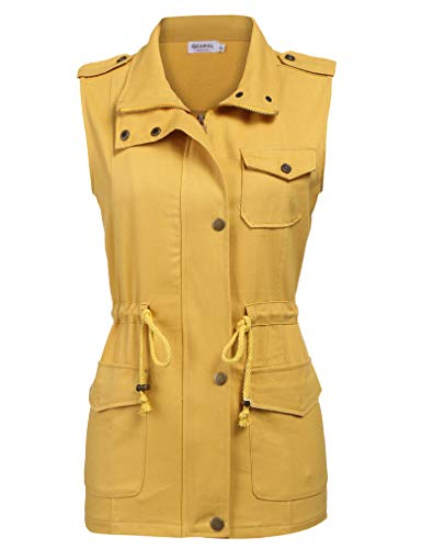 Qearl Women's Winter Military Safari Utility Drawstring Lightweight Vest Jacket Pockets(M, Yellow)