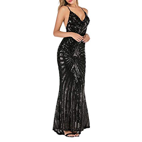 iHPH7 Dress Women Off Shoulder Evening Party Cocktail Fashion Sexy Tassel Solid Sleeveless Shining Mini Sequin Dress (S,3- Black)