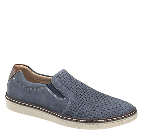 Johnston & Murphy Men's McGuffey Woven Slip-On Shoe Denim Tumbled Nubuck 10 M - Woven Shoe Loafer Leather