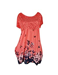 HHmei Women Summer Casual Short Sleeve Lace Party Sundress Dress Knee Length