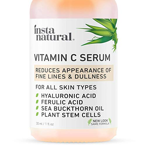 InstaNatural Vitamin C Serum with Hyaluronic Acid & Vit E - Natural & Organic Anti Wrinkle Reducer Formula for Face - Dark Circle