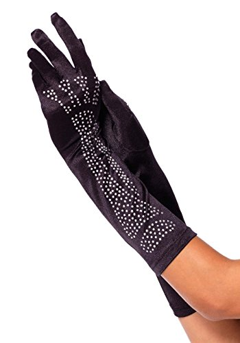 Leg Avenue Women's Rhinestone Bone Elbow Length Gloves, Black/Silver, One Size