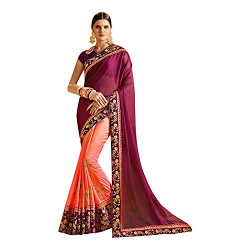 sposa jari Seta partywear indiano etnico abito tradizionale indiano Saree latest richlook da donna sari 740 Matrimonio Ofzwx8f