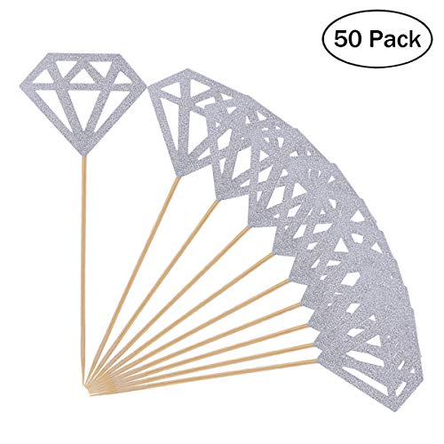 Price comparison product image Topoox 1 50 Pack Toppers Silver Glitter Diamond for Cupcake Bridal Shower Decoration