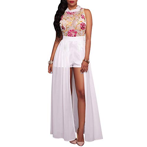Women's Sheer Mesh Embroidery Maxi Dress Sexy Floral Hi Low Chiffon Romper Dress Fashion Sleeveless Halter High Split See Through Long Jumpsuit Dress White