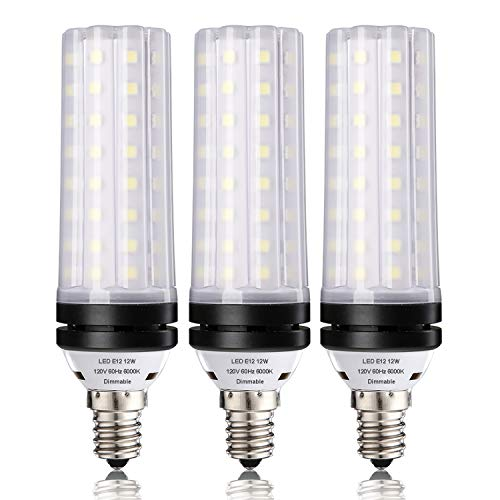 E12 Dimmable LED Corn Bulbs,12W LED Candelabra Light Bulbs 100 Watt Equivalent, 1000lm, Daylight White 6000K LED Chandelier Bulbs, Decorative Candle Base LED Lamp, Pack of 3