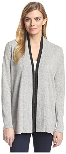 Magaschoni Womens Sweater (Magaschoni Women's Colorblock Open Cardigan, Stone/Kohl, XS)