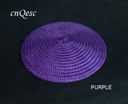 PURPLE Halica 14cm Round PP Straw Base Disc Saucer Fascinator Base for Sinamay Fascinator Hair Accessory Church Wedding Derby.  (color  Yellow)
