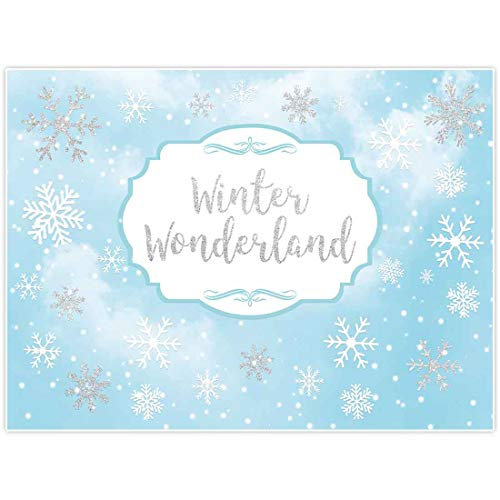 Winter Wonderland Decorations Ideas (Allenjoy 8x6ft Winter Wonderland Theme Backdrop for Girl Party Decoration Sweet 6th 1st Birthday Banner Supplies Festival Sky Blue White Snowfall Background Girl's Christmas Princess Baby Shower)