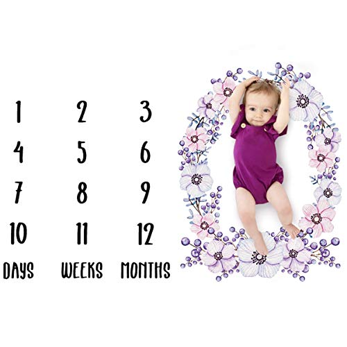 Haokaini Baby Monthly Milestone Blankets for Photography Prop, Floral Hero Animal Mermaid Swaddling, Thick Fleece, Unisex Newborn Baby Boys Girls Shower Gifts (Color : Purple)