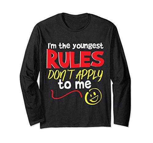 pply Funny Youngest Child T-Shirt Boys Girls Medium Black ()