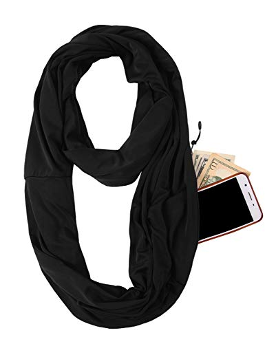 Scarf With Pockets - JOKHOO Infinity Scarf Wrap with Secret Hidden Zipper Pocket, Best Travel Scarfs (Black, One size)
