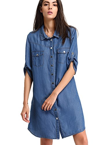 (Escalier Women`s Denim Dress Tencel Chambray Casual Long Button-Down Shirts Blosue with Pocket Blue L)