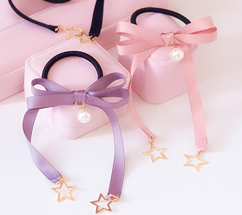 over 39 Japanese custom ribbon bow hair accessories head faceplate pear style hair clip hair ring rubber band stars for women girl lady ()